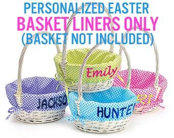 Easter basket liner etsy easter basket liner personalized easter baskets not included gingham easter basket liner blue lime negle Image collections