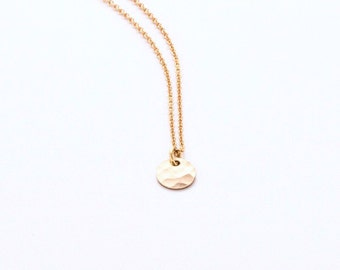 HAMMERED DISC NECKLACE - 24K Gold-filled - hammered - gold - portland oregon