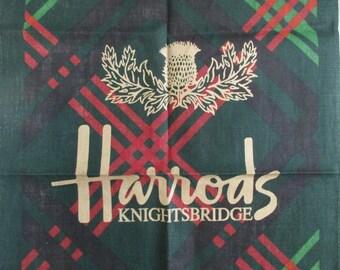 Irish Linen Tea Towel Harrods Knightsbridge Plaid never used