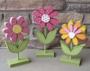 3 Tall Standing Whimsical Flower Block Set for Spring decor, Flower decor, Girl room decor,  shelf, desk, office and home decor