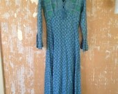 vintage. 60s Rare Indian Gauze Thin Blue Dress   / Hippie Bohemian  / Free Size