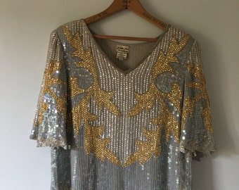 Vintage Rare 70s Silk Top • Bohemian Top •  Studio 54 Glam Beaded Top