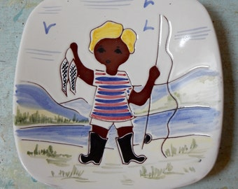 Graverens Norsk Art Pottery Plate Fishing Boy Signed & Numbered 787/SP Hand Made in Norway Scandinavian Mod Nursery Family Room Decor