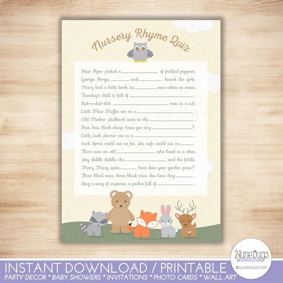 Woodland Nursery Rhyme Print Baby Shower Nursery Rhyme Quiz Baby