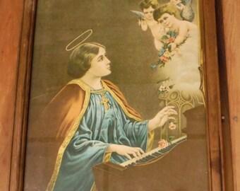 Vintage St Cecilia Framed Print Patroness Patron Saint of Music Musicians Roses Cherub Angel Organ Flowers