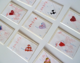 Love Heart, Shabby Chic Birds & Hearts Greeting Cards, Unique, Original, Upcycled, Stitched, Printed, Rubberstamped, Birds Hearts Love Notes