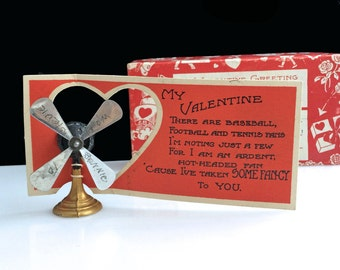 Rare Vintage Metal Model FAN Valentine Day Card w/ Original Box Blades Spin