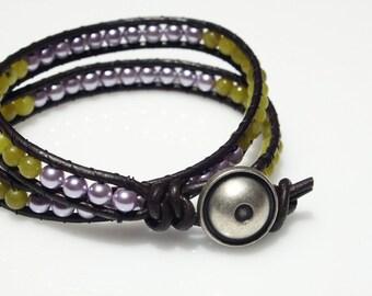 Wrap Beaded Bracelet, Friendship Bracelet, Leather Bracelet, Plum Beads Bracelet, Teen Bracelet