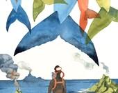Latecomer - Whales & Scuba Diver Watercolor Illustration Print