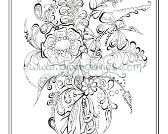 Wedding Favour PDF Download Bespoke Personalised Colouring Activity Henna Flowers Holiday Art Therapy