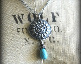 Silver Mandala Necklace, Flower Necklace, Sterling Silver, Genuine Turquoise
