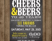 Birthday Invitation Beers and Cheers Man Birthday Beer BYOB Party Brewery Surprise 21st 30th 40th JPEG 5x7 Digital File for e-mail or print