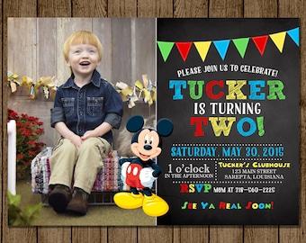 Mickey Mouse Birthday Invitation, Photo, Customized, Mickey Mouse Clubhouse, Chalkboard, Boy Invite, 1st, 2nd, 3rd, 5x7, JPEG, PDF, DIY
