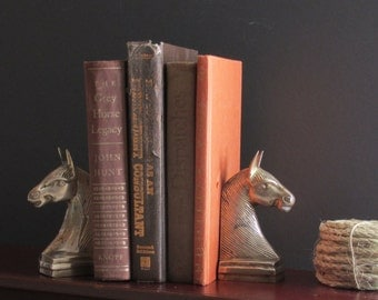 vintage bookends - home decor - Horse Lover - brass horses