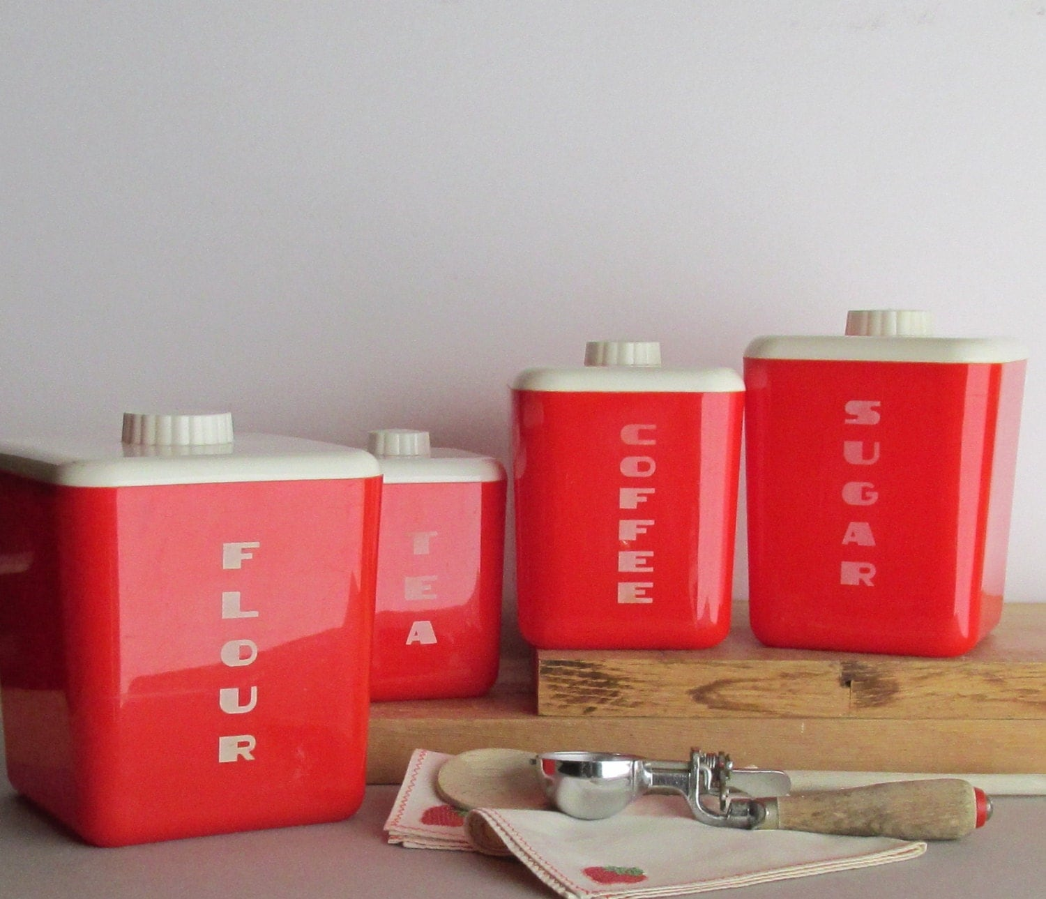 vintage kitchen decor lustroware canister set red cherry