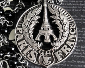 PARIS Vintage French Eiffel Tower & Wreath Pendant Necklace. Fleur de Lis And Ship Decor. Black Glass Beaded Chain. One Of A Kind Assemblage
