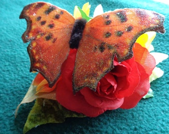 Handmade Butterfly and floral hairclip