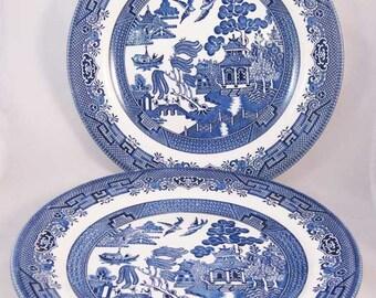"Churchill England Blue Willow Dinner Plates (2) 10-1/4"""