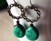 Turquoise Earrings, Green Howlite, Country Western, Long Dangle Earrings, Antique Brass, Wire Wrapped, Stone Earrings, Green Turquoise