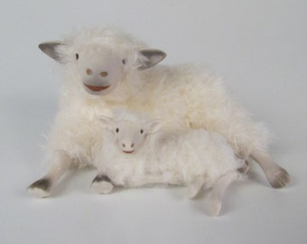 Cotswold Ewe Spooning with Her Lamb