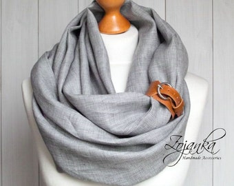 LINEN Infinity Scarf tube scarf with cuff, natural linen scarf, gift ideas, infinity SCARF, lightweight linen scarf with strap, natural eco