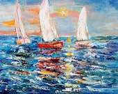 Original oil painting Regatta at Sunrise - Sailing nautical palette knife impressionism on canvas fine art by Karen Tarlton