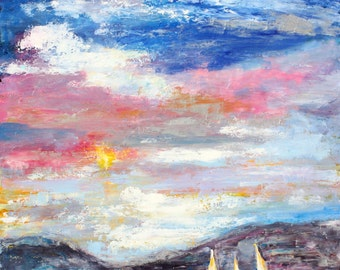 Sunrise Sky and Water painting in oil palette knife impressionism on canvas fine art by Karen Tarlton