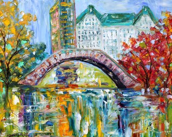 New York Central Park Autumn original oil painting abstract palette knife impressionism on canvas fine art by Karen Tarlton