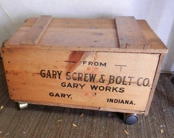 Gary Screw & Bolt Co, Gary Works Gary Ind Wood Box with hinged lid finished with casters like trunk or storage box