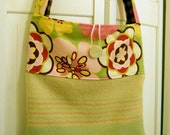 SALE Pink and Green Striped and Floral Tote Bag Purse: made from a recycled wool blanket. Long handles, crossbody