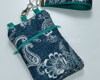 Made to Order Indigo Blue Paisley Teal iPhone 5 6 Plus Phone Case with Zipper Top Closure and Back Zipper Pocket Navy Gray Black Option