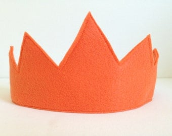 Children's Orange Felt Crown - Handmade, Dress Up, Costume, King, Queen, Prince, Princess, Superhero