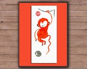 Monkey, Chinese New Year 2016 card, Year of the red fire monkey, Original Zen Painting, zen decor, japanese art, childs room, red envelope