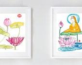Zen Goddess Buddha Kanzeon, Kannon or Kwan Yin with Lotus, Pair of Watercolor Paintings Original art zen decor, japan scroll, feng shui, tao