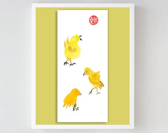 Rooster, Chicks for Chinese Zodiac, Year of the Rooster, Original Zen Sumi ink Painting, zen decor, child's nursery art, japanese chicken