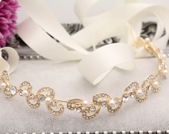 Gold Pearl Bridal headband,Bridal Headband,Bridal Ribbon Headband,wedding headpiece,rhinestone tiara,Ribbon Headband,Bridal hair accessories