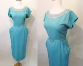 CLEARANCE Charming 1950's Turquoise Linen Curve Hugging Party  Dress with Lace and Rhinestone Trim Rockabilly VLV Vixen Pinup Size-X-Large