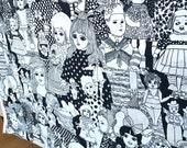 Mod Screen Print Folk Doll Fabric Black and White 5th Avenue Dolls