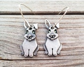 Sterling silver bunny earrings,  rabbit earrings
