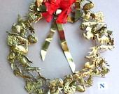 WREATH  / Wall Decor . . . 68 Dresden BRASS Petite Chose . . . Christmas or Year-Round Wreath, Vintage