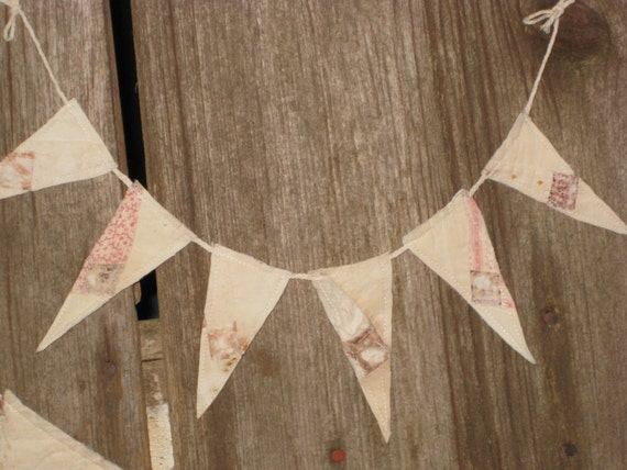 Tiny Banner Bunting Quilt Pennant Garland Cottage Party Decorations Decor Pastel Nursery Baby Gift