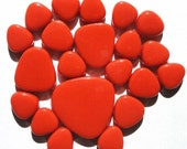 Bright Orange Turkish Crystal Glass Pebbles/Ovals Mosaic Tiles//Petal Shaped Tiles//Mosaic Supplies//Crafts//Mosaic