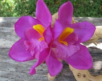 Hawaiian Purple  Two Orchids hair flower clip - Weddings -