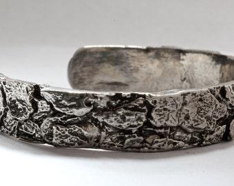 Tree Bark Cuff Bracelet in Sterling Silver Dogwood Tree made in NYC