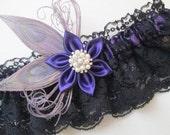 Purple & Black Wedding Garter Set, Silver Peacock Feather Garter, Purple Prom Garters, Gothic Bride, Bridal Lingerie
