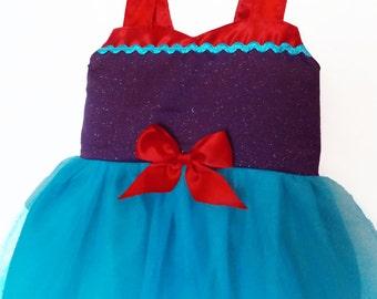 Ariel Tutu Dress: Red turquoise purple, Princess Party, Princess Dinner, adjustable, little mermaid, mermaid dress, halloween costume