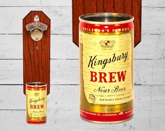 Kingsbury Brew Wall Mounted Bottle Opener with Vintage Near Beer Can Cap Catcher - Great Housewarming Gift