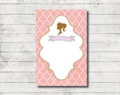 PRINCESS Design THANKYOU Card, Instant Download Thank you Card, Fairy Tale, Bday, Birthday, Castle, 6x4 Thank you Card