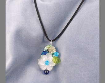 Recycled Ring Pull / Soda Tab Necklace 'Little Bouquet' Pendant