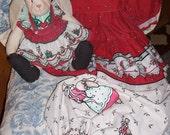 Daisy Kingdom Christmas Dress Bunny doll and Gift sack vintage
